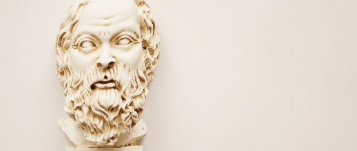 Socrates, lived in Athens (470 BC - 399 BC) was a Greek Athenian philosopher. It is one of the founders of Western philosophy. White marble bust of him.